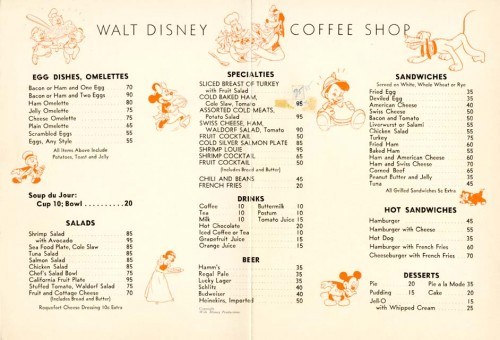 Disney Menu Inside